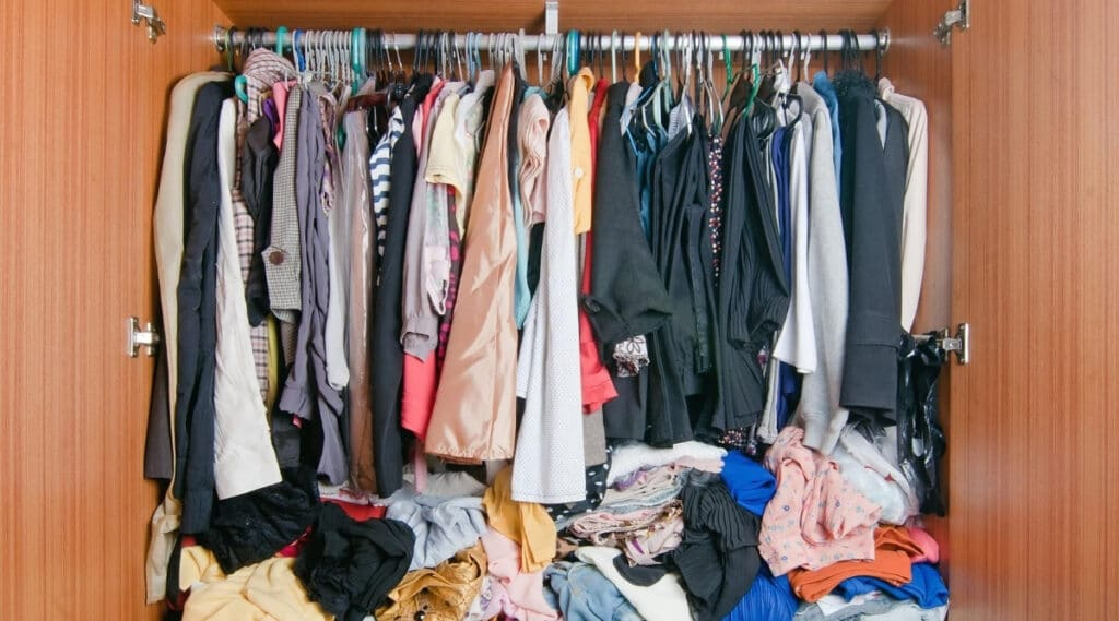 Messy Clothing in Closet