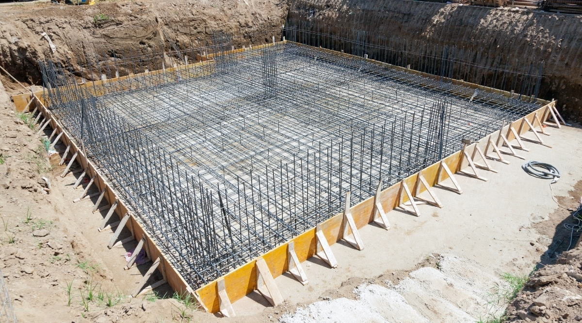 home foundation with steel webbing