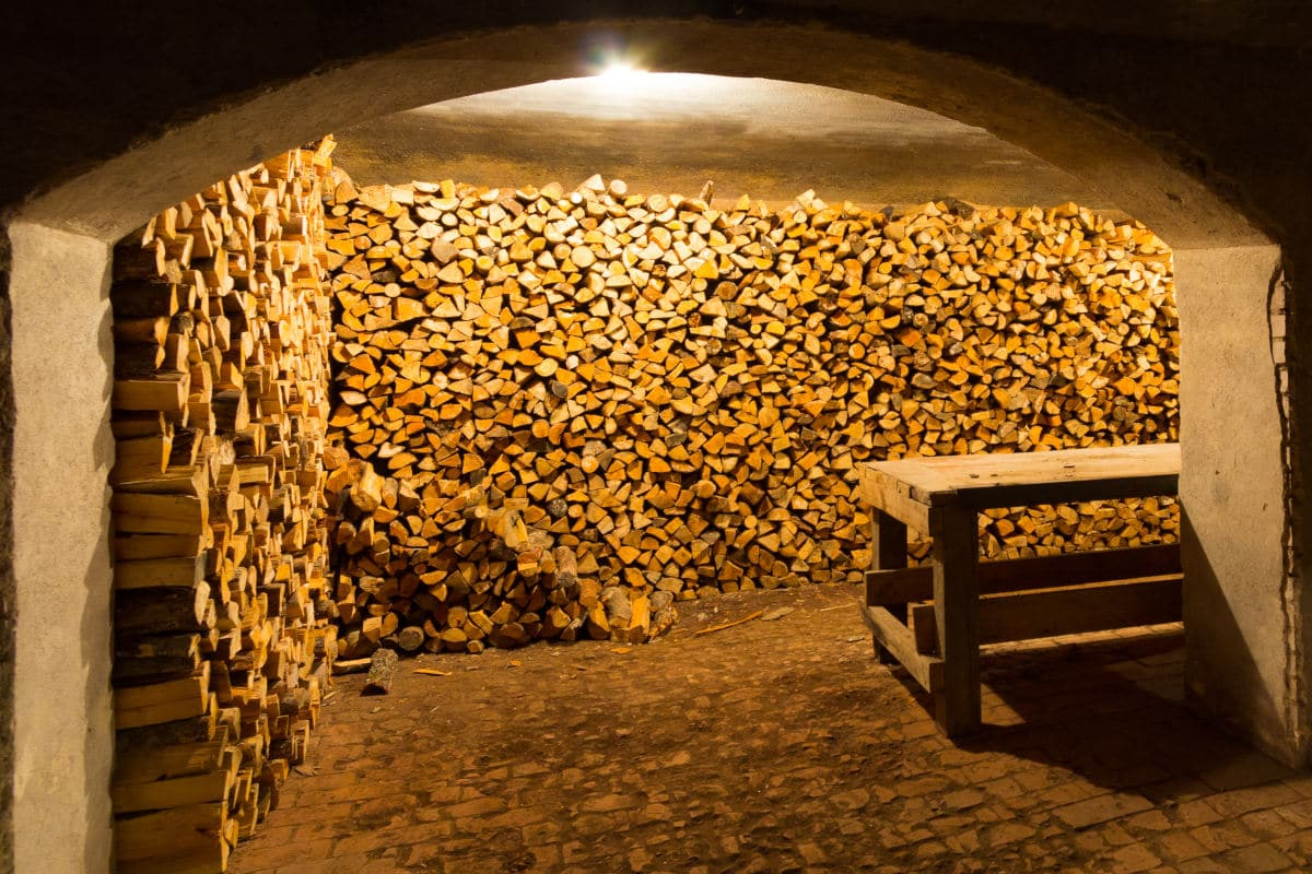 Firewood stacked inside an old cellar